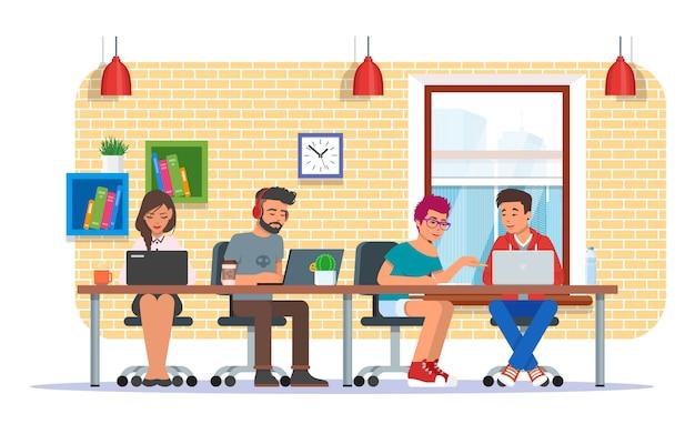 Illustration du centre de coworking, conception de style plat