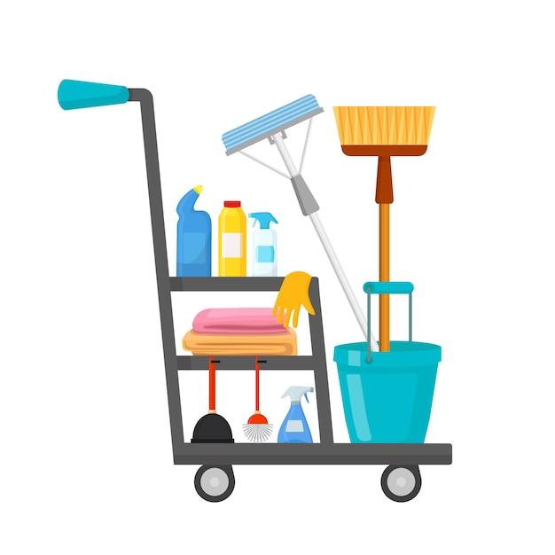 Illustration du chariot de nettoyage