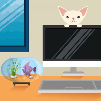 Illustration du chat et du poisson dans une scène d'aquarium