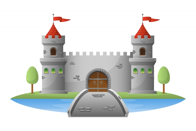 Illustration du château médiéval sur fond blanc