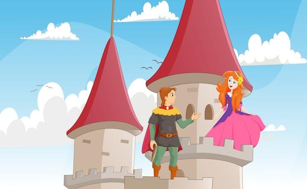 Illustration du chevalier sauver la princesse