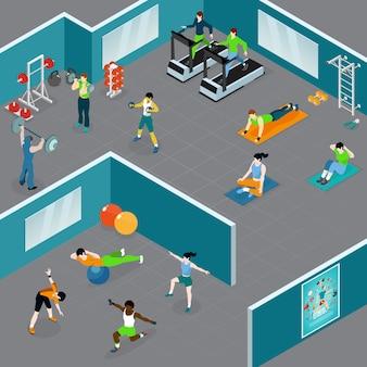 Illustration du club de remise en forme isométrique