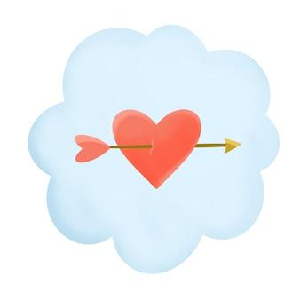 Illustration du coeur de nuage et de la flèche pour la saint valentin