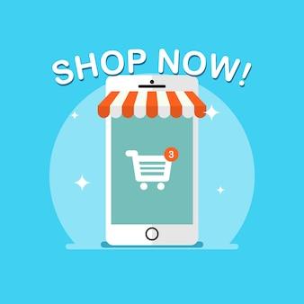 Illustration du commerce électronique et des achats en ligne