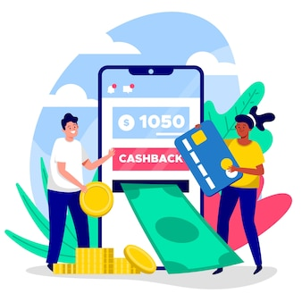 Illustration du concept abstrait de cashback