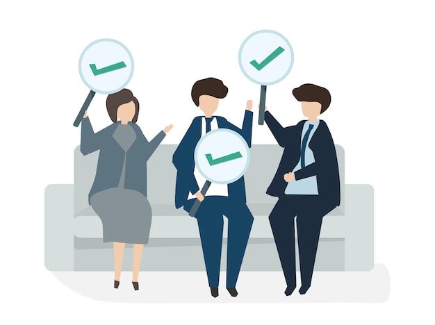 Illustration du concept d'accord commercial avatar personnes