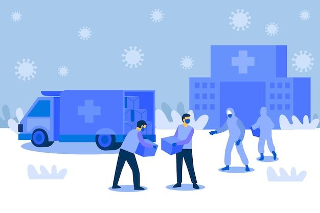 Illustration du concept d'aide humanitaire