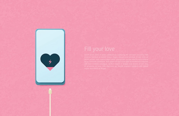 Illustration du concept d'art papier amour. câble de charge coeur dans le téléphone portable sur fond rose