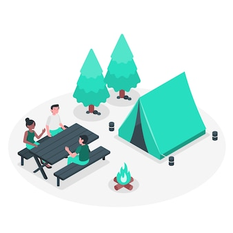 Illustration du concept de camping