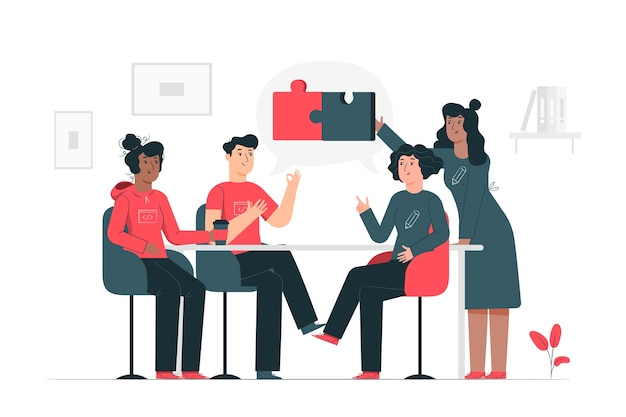 Illustration du concept de connexion des équipes