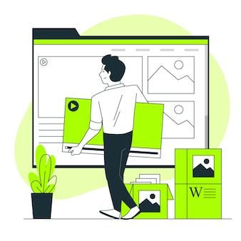 Illustration du concept de contenu