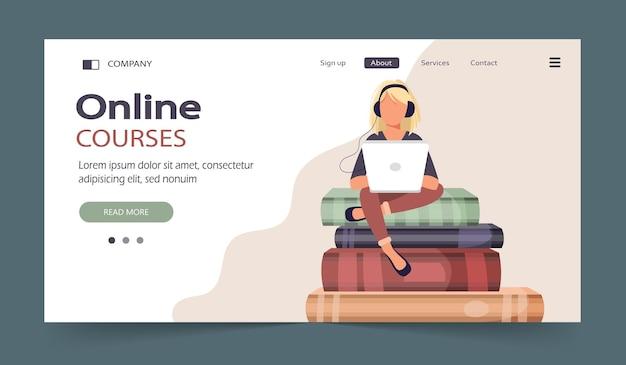 Illustration du concept de cours en ligne à distance étudiant la bibliothèque numérique d'auto-éducation