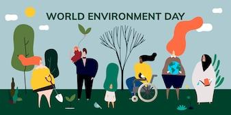 Illustration du concept de la journée mondiale de l'environnement
