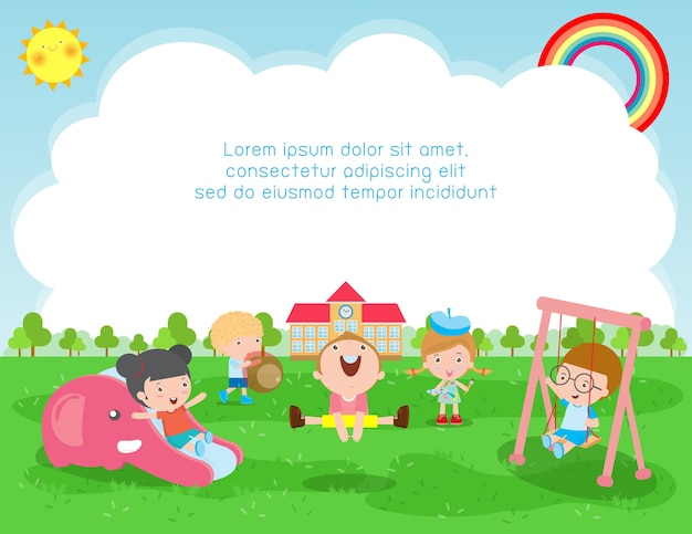 Illustration du concept d'éducation de retour à l'école, enfants jouant à l'extérieur