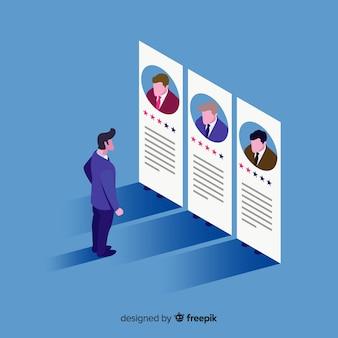 Illustration du concept d'embauche isométrique
