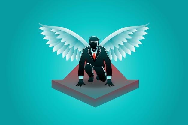 Illustration du concept d'entreprise, l'homme d'affaires ailé sur la flèche prend position pour être prêt à voler