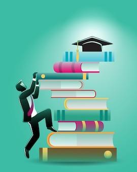 Illustration du concept d'entreprise, un homme d'affaires grimpant sur une pile de livres pour atteindre le chapeau de graduation