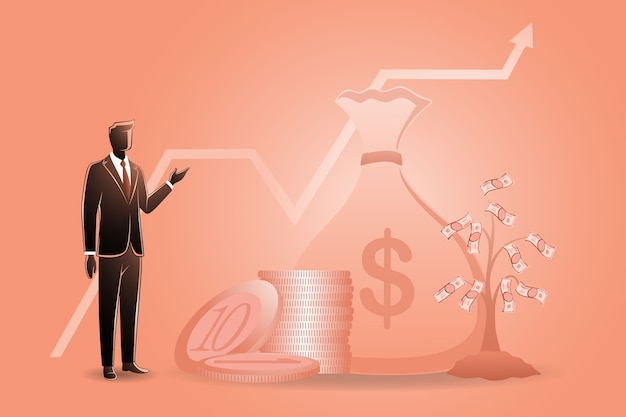 Illustration du concept d'entreprise, homme d'affaires avec sa richesse