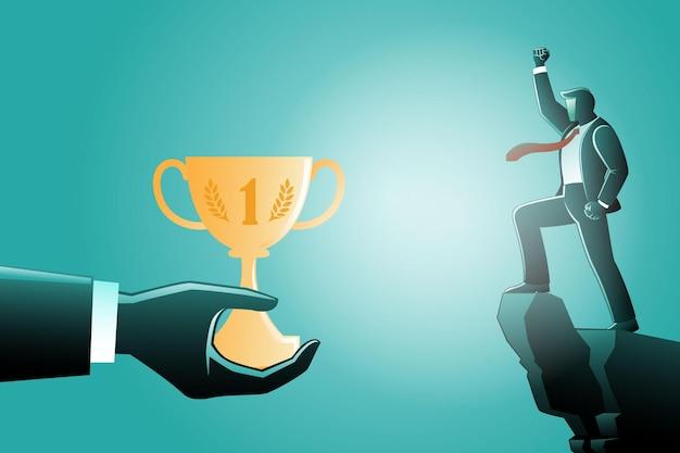 Illustration du concept d'entreprise, des mains géantes donnent un trophée à un homme d'affaires