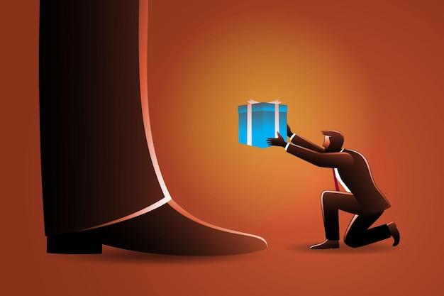 Illustration du concept d'entreprise, un petit homme d'affaires donne une boîte à un homme géant