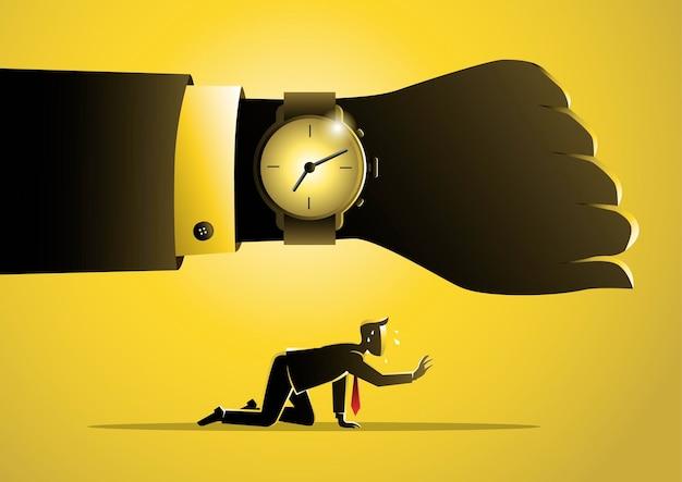 Une illustration du concept épuisé, un homme d'affaires manque de temps. concept d'entreprise