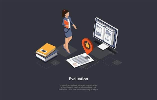 Illustration du concept d'évaluation. composition de vecteur isométrique, style 3d de dessin animé. fond sombre, texte. évaluation des documents scolaires ou universitaires. processus d'éducation, réussite au test d'apprentissage et d'obtention du diplôme.