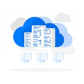 Illustration du concept d'hébergement en nuage