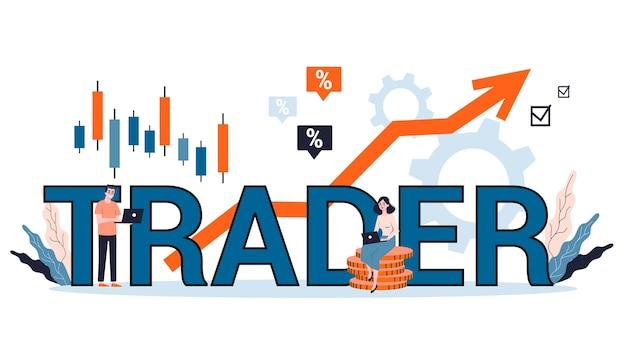 Illustration du concept d'investissement financier. acheter, vendre ou perdre des bénéfices, stratégie de trader. concept de bannière web commerçant. idée d'augmentation de la monnaie et de financement de la croissance. illustration avec style