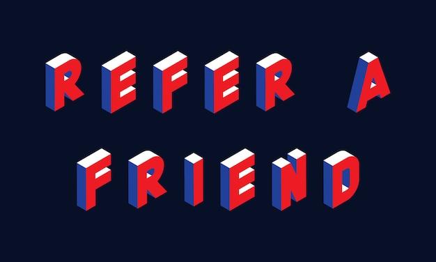 Illustration du concept isométrique «referez à un ami»