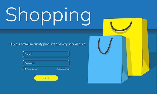 Illustration du concept de magasinage en ligne
