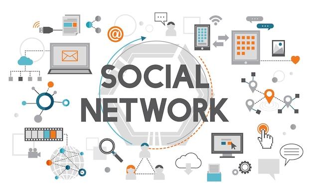 Illustration du concept de médias sociaux
