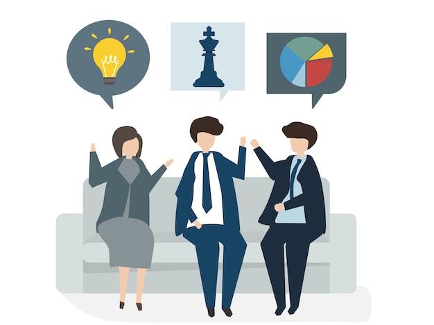 Illustration du concept de plan d'affaires avatar de personnes