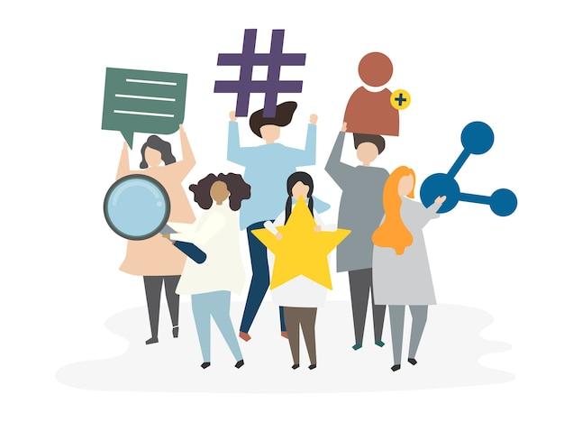 Illustration du concept de réseau social avatar