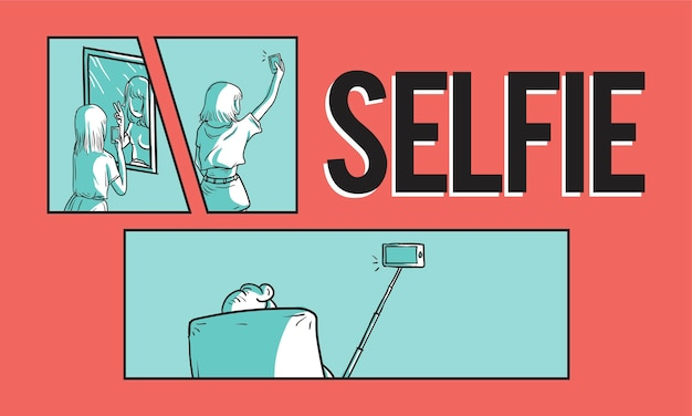 Illustration du concept de selfie