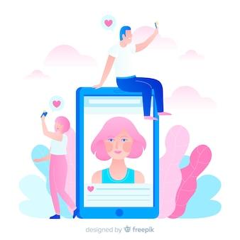 Illustration du concept de selfies