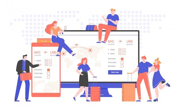 Illustration du concept d'un service de billets d'avion en ligne. groupe de personnes avec des valises et des sacs à côté d'un écran d'ordinateur et d'un smartphone. voyages et voyages d'affaires. appartement tendance.
