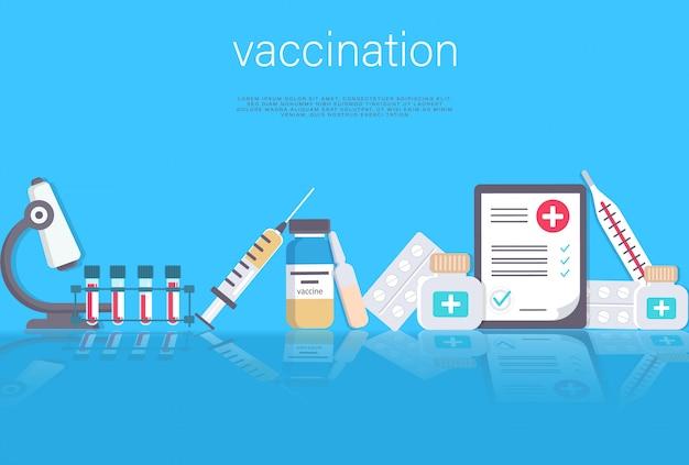 Illustration du concept de vaccination. document médical avec médicaments et équipement