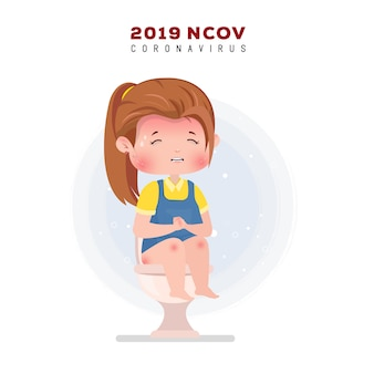 Illustration du coronavirus. petite fille malade avec mal au ventre