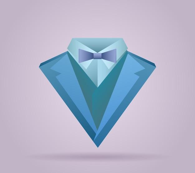 Illustration du costume pour hommes en origami avec une cravate papillon et une bûche
