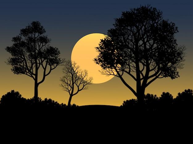 Illustration du coucher du soleil avec la silhouette de la forêt