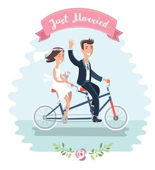 Illustration du couple drôle de bande dessinée