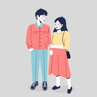 Illustration du couple romantique debout ensemble