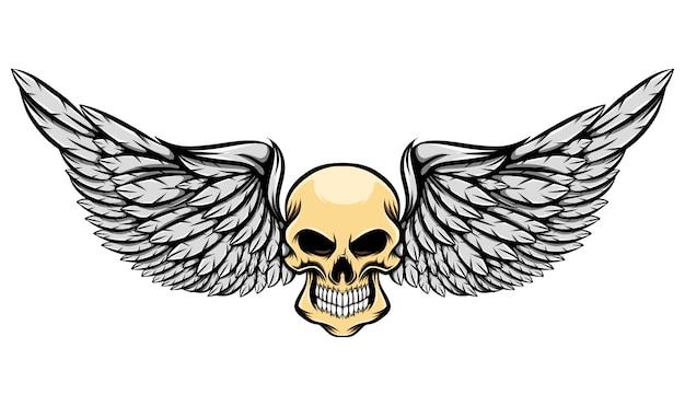 Illustration du crâne humain effrayant sans yeux et longues ailes