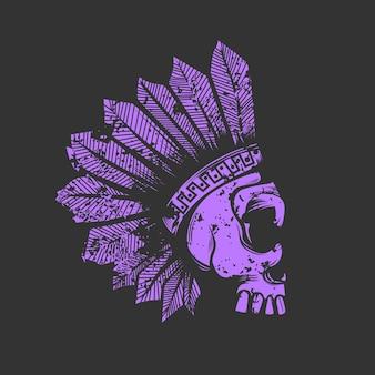 Illustration du crâne indien avec une couronne de plumes
