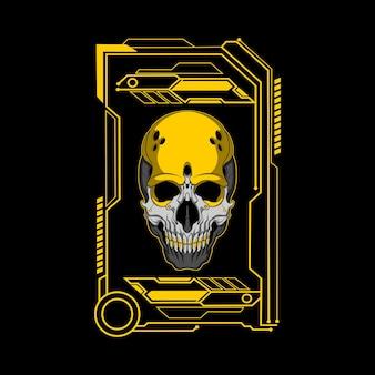 Illustration du crâne jaune mécha