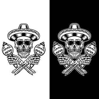Illustration du crâne mexicain, ensemble isolé