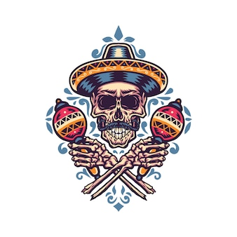 Illustration du crâne mexicain