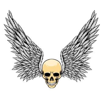 Illustration du crâne mort avec des dents et beaucoup de petites ailes de plumes