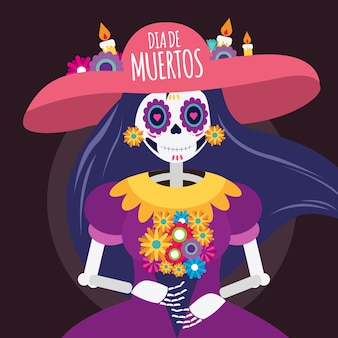 Illustration du crâne mort dia de muertos