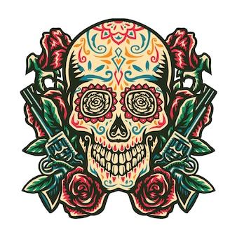 Illustration du crâne de sucre avec une arme à feu et une rose